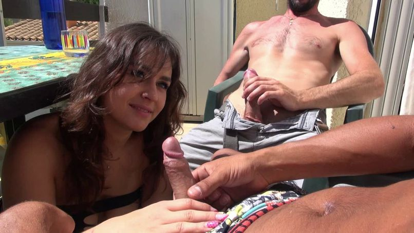 Karène, a beautiful busty slut gets anal fucked by two well-dressed guys! - Tonpornodujour.com